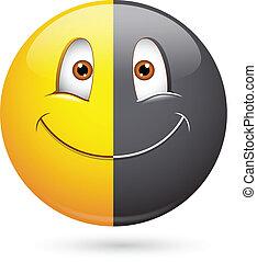 hälfte, smiley, schwarz, rassismus, gesicht