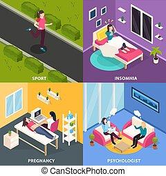 hälsa, begrepp, design, kvinnor