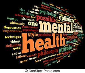 hälsa, etikett, ord, mental, moln