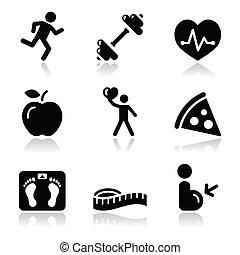 hälsa, ikon, svart, ren, fitness