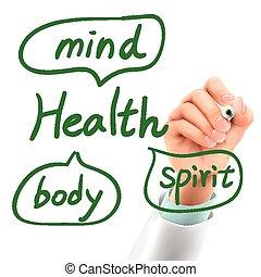 hälsa, läkare, ord, skrift