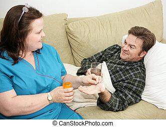 hälsa, medicinsk behandling, -, hem