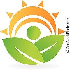 hälsa, natur, det leafs, energi, logo