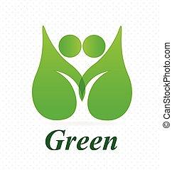 hälsa, natur, logo