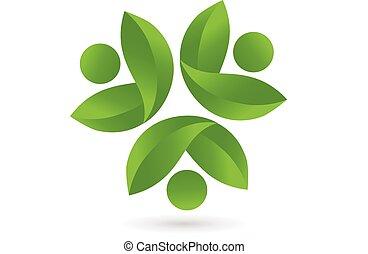 hälsa, natur, teamwork, logo, vektor