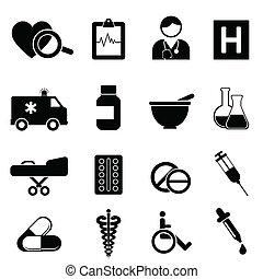 hälsa, och, läkar ikon