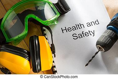 hälsa och säkerhet, register, med, goggles, drill, och, hörlurar