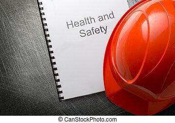hälsa och säkerhet, register, med, hjälm