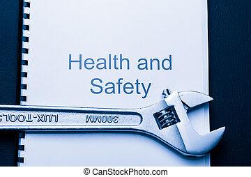 hälsa och säkerhet, register, med, skruvnyckel