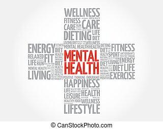 hälsa, ord, mental, moln