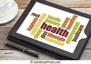 hälsa, ord, moln