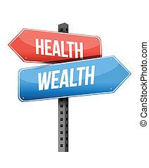 hälsa, skylt., design, rikedom, illustration