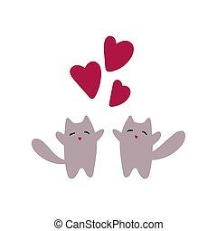hälsning, dag, två, love., katter, valentinkort, card.
