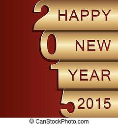 hälsning, design, år, 2015, färsk, kort, lycklig