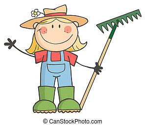 hälsning, flicka, trädgårdsarbete, vinka