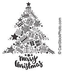 hälsning, hand, symboler, oavgjord, helgdag, julkort
