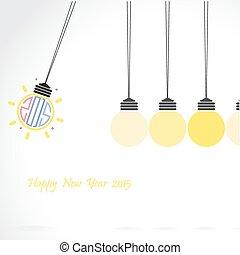 hälsning, skapande, design, år, 2015, färsk, kort, lycklig