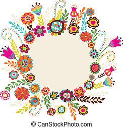 hälsningskort, med, blomningen