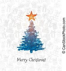 hälsningskort, med, julgran, och, stor stjärna, hand, oavgjord, med, bläck