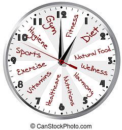 hälsosam, begreppsmässig, liv, klocka