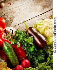 hälsosam, bio, organisk mat, vegetables.