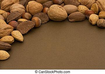 hälsosam, blandad, ram, gräns, nötter