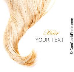 hälsosam, blont hår, isolerat, vita