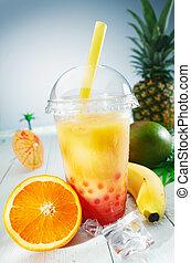 hälsosam, bubbla, te, tropisk, smoothie