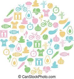 hälsosam, cirkel, livsstil, ikon