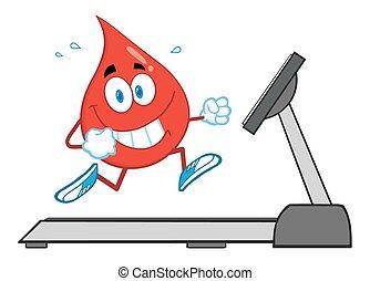 hälsosam, droppe, tecken, blod