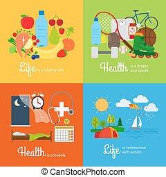 hälsosam, elementara, livsstil
