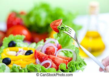 hälsosam, färsk grönsak, sallad, och, gaffel