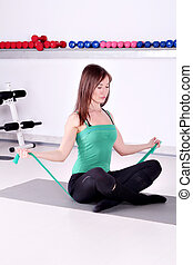 hälsosam, flicka, Livsstil, Övning,  fitness