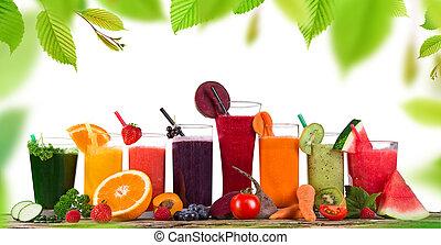 hälsosam, frisk, drinks., frukt saft