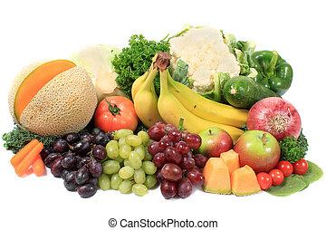 hälsosam, frukter och vegetables