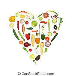 hälsosam, grönsak, hjärta