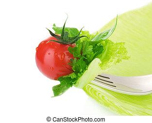 hälsosam, grönsak, sallad
