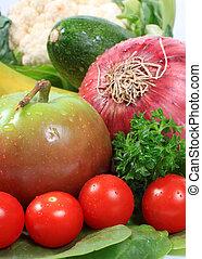 hälsosam, grönsaken, frukter