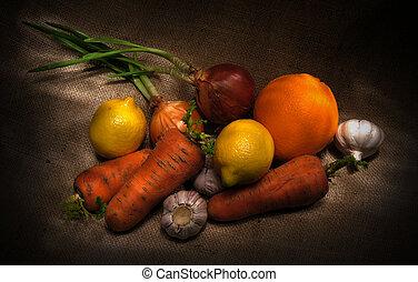 hälsosam, grönsaken, organisk
