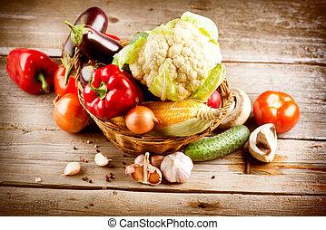 hälsosam, grönsaken, ved, organisk, bakgrund
