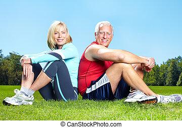 hälsosam, gymnastiksal, lifestyle., fitness