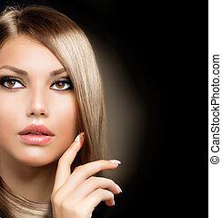 hälsosam, hår, flicka, länge, skönhet
