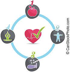 hälsosam, hjul, livsstil