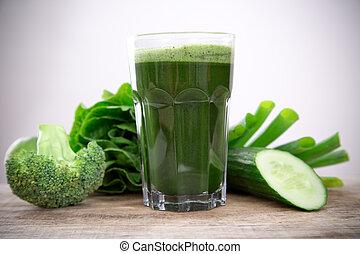 hälsosam, juice, grön