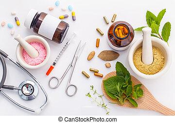 hälsosam, kemisk, bakgrund, vs, medicin, vit, herbal,...
