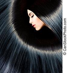 hälsosam, länge, svart, hair., skönhet, brunett, kvinna