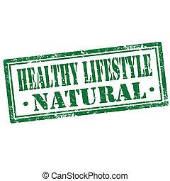 hälsosam, lifestyle-stamp