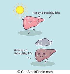 hälsosam, liv, lever, lycklig