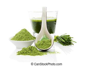 hälsosam, living., wheatgrass.