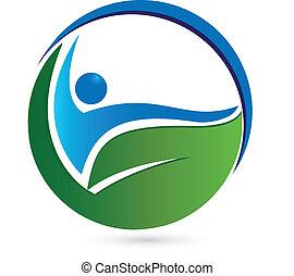 hälsosam, logo, begrepp
